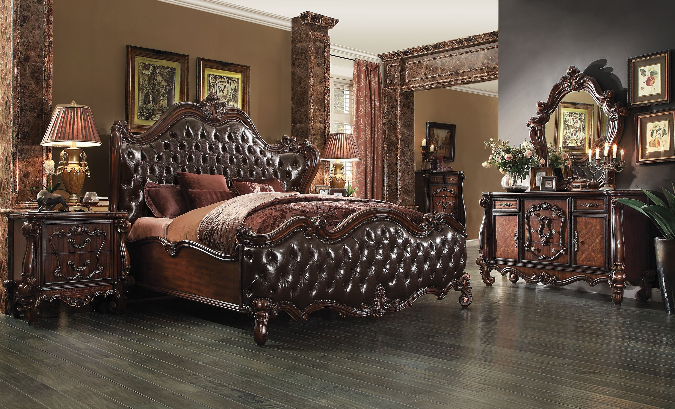 Acme Versailles 4-Piece Upholstered Bedroom Set in D.Brown PU ...