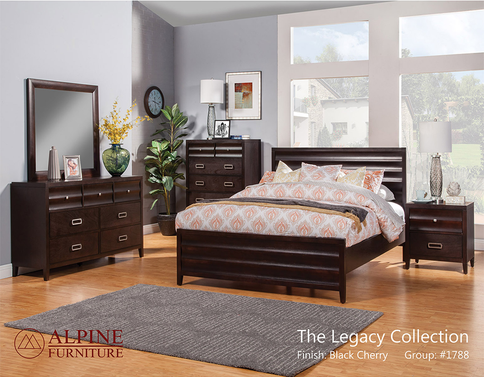 Image of: Alpine Furniture Legacy 4 Piece Panel Bedroom Set In Black Cherry