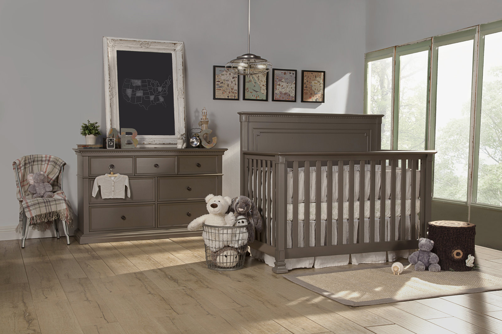 franklin u0026 ben nelson 4in1 convertible crib set with toddler rail in washed grey