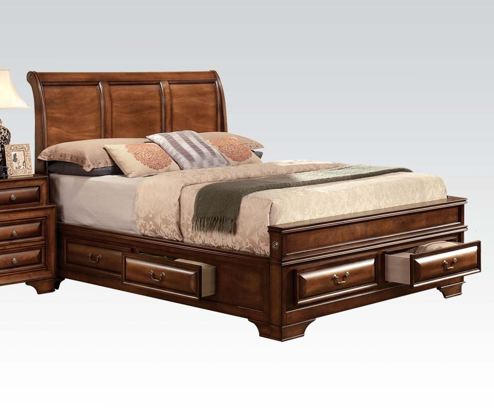 Acme Konane Queen Sleigh Bed With Underbed Storage In