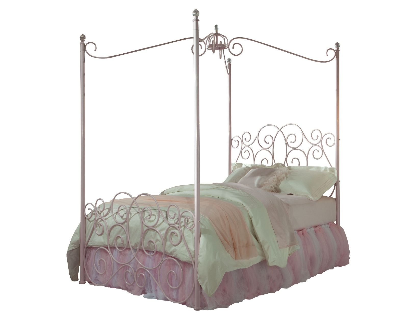 - Standard Furniture Princess Metal Canopy Twin Bed In Pink Nickel