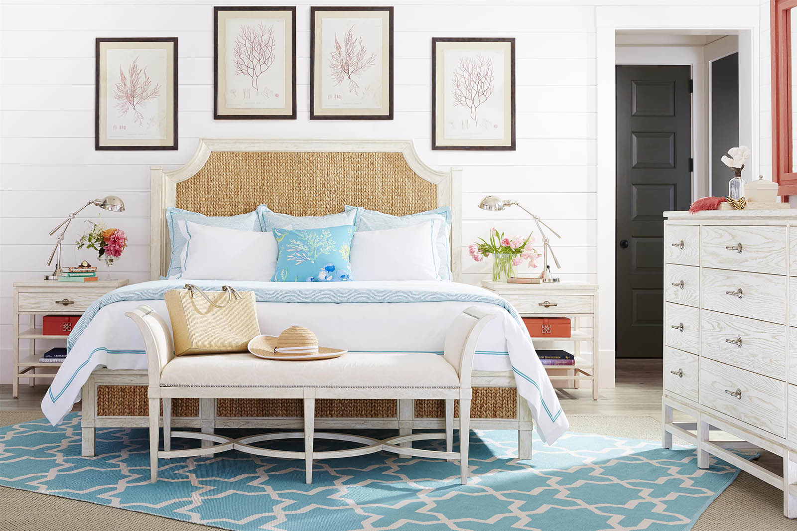 Stanley Coastal Living Resort 4pc Water Meadow Woven Bedroom Set In  Nautical White
