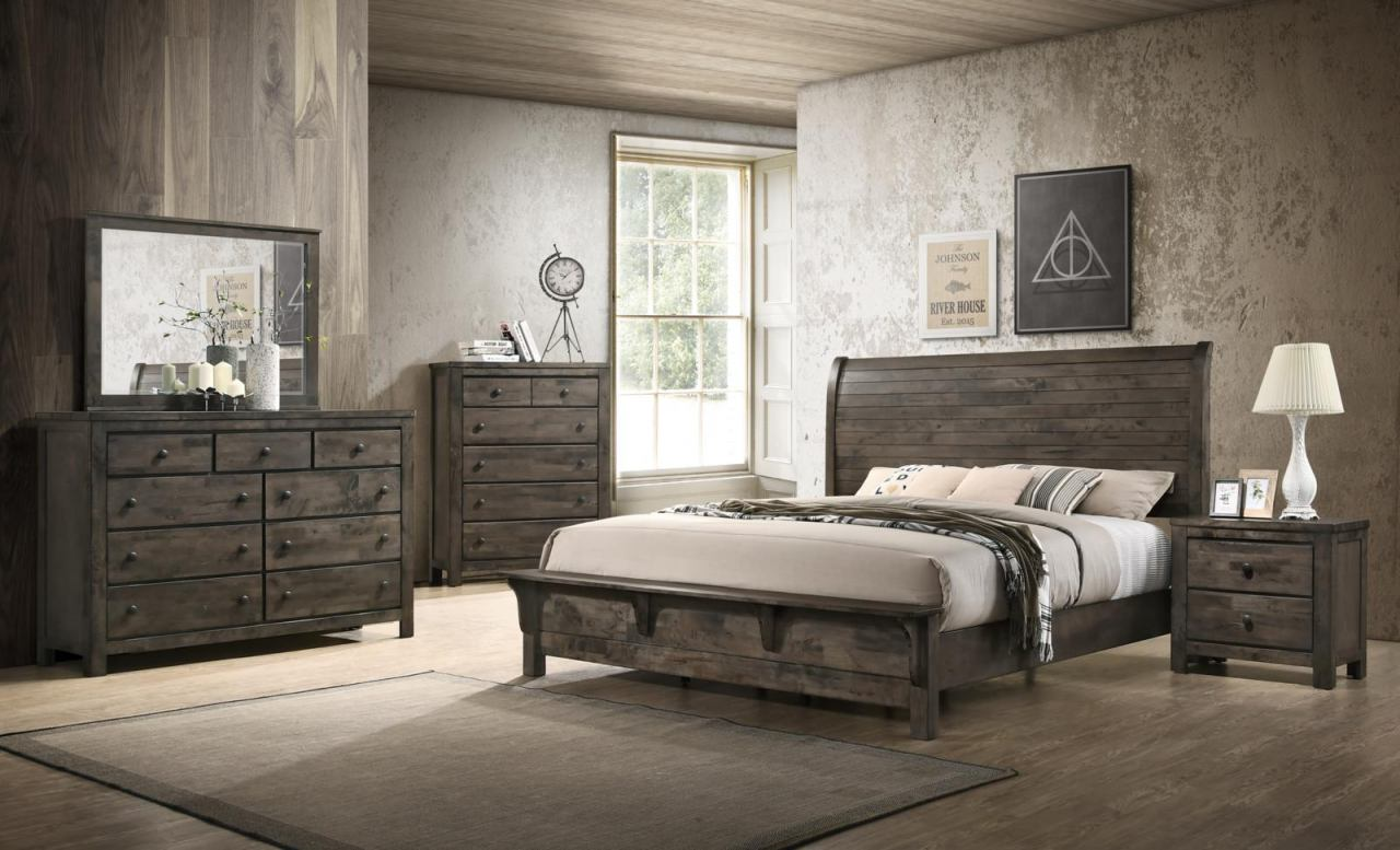 New Classic Furniture Blue Ridge 4 Piece Bedroom Set In Rustic Gray