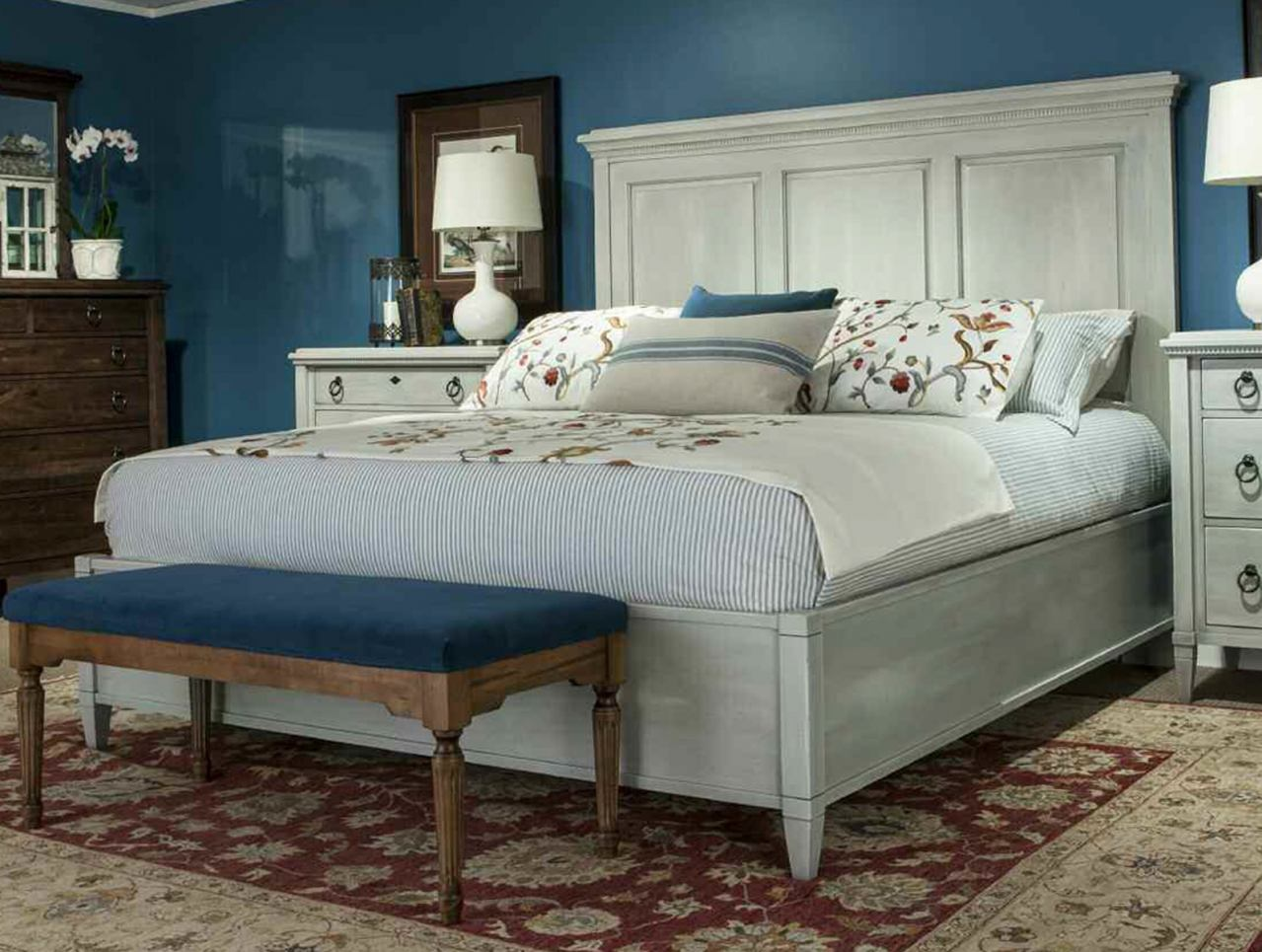 Durham Furniture Springville King Panel Bed in Greystone 145-144-GRST