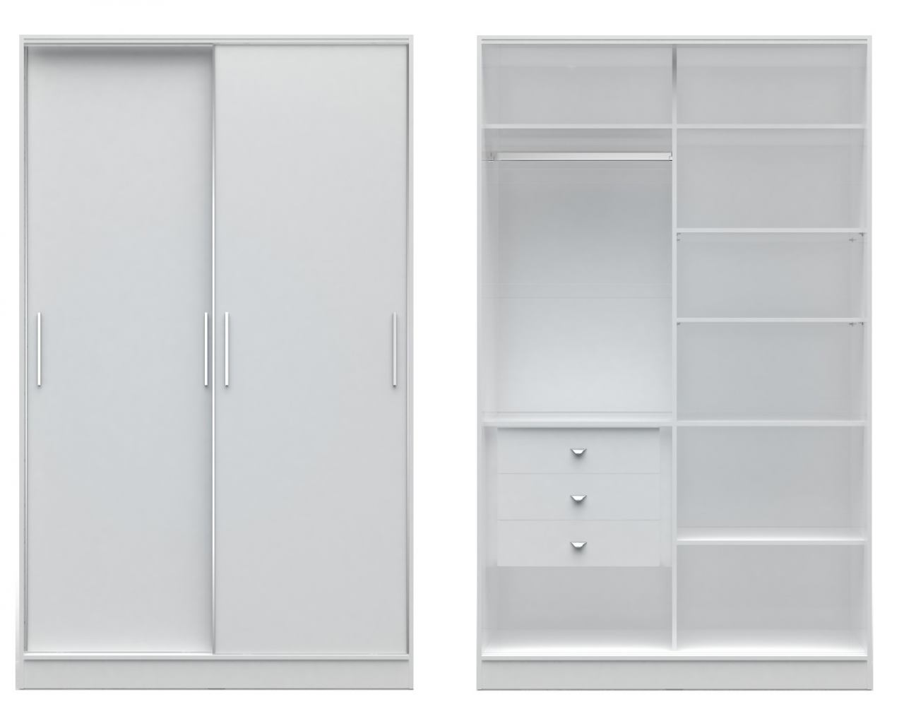 Manhattan Comfort  Chelsea 1.0 Full Wardrobe with 3 Drawers and 2 Sliding Doors in White 2-117652111852