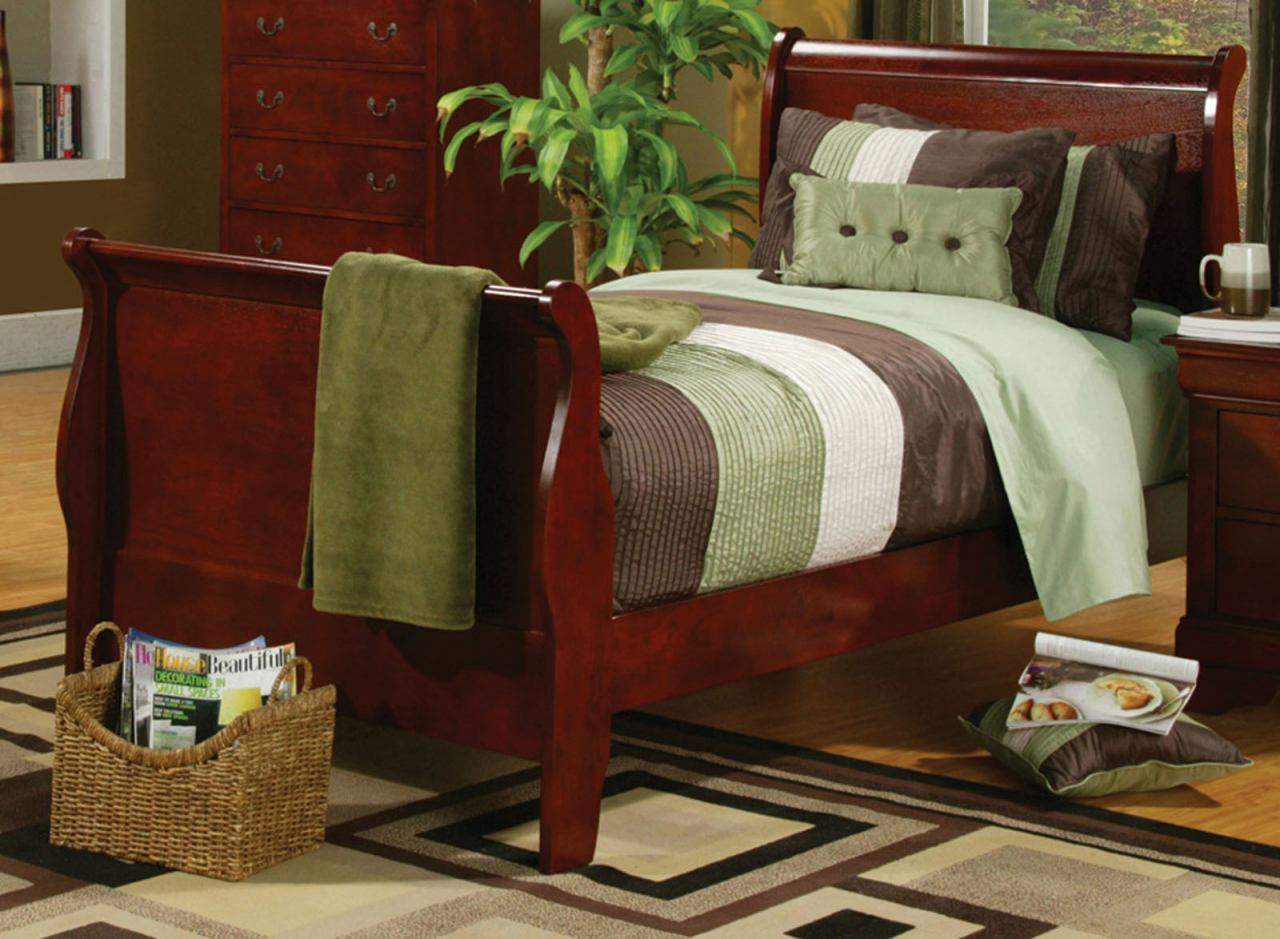 Coaster Louis Philippe Youth Twin Sleigh Bed in Cherry 200431T