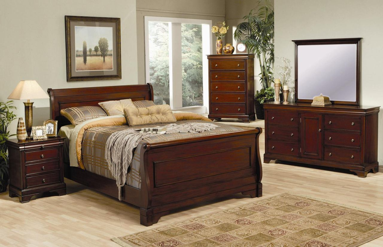 Versailles Sleigh Bedroom Set in Mahogany 201481