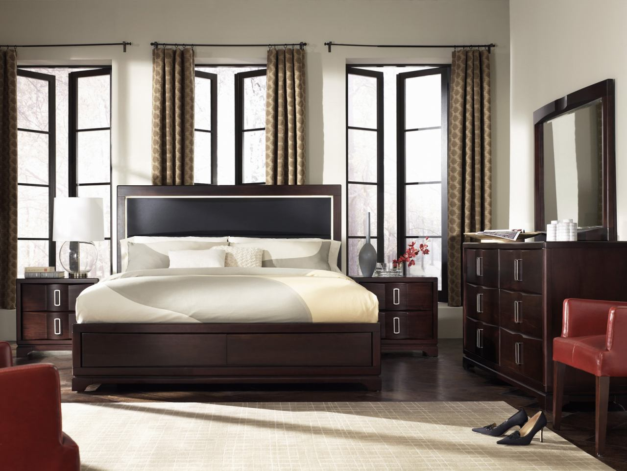 Casana Brooke 4 Piece Upholstered Panel Bedroom Set in Deep Coffee