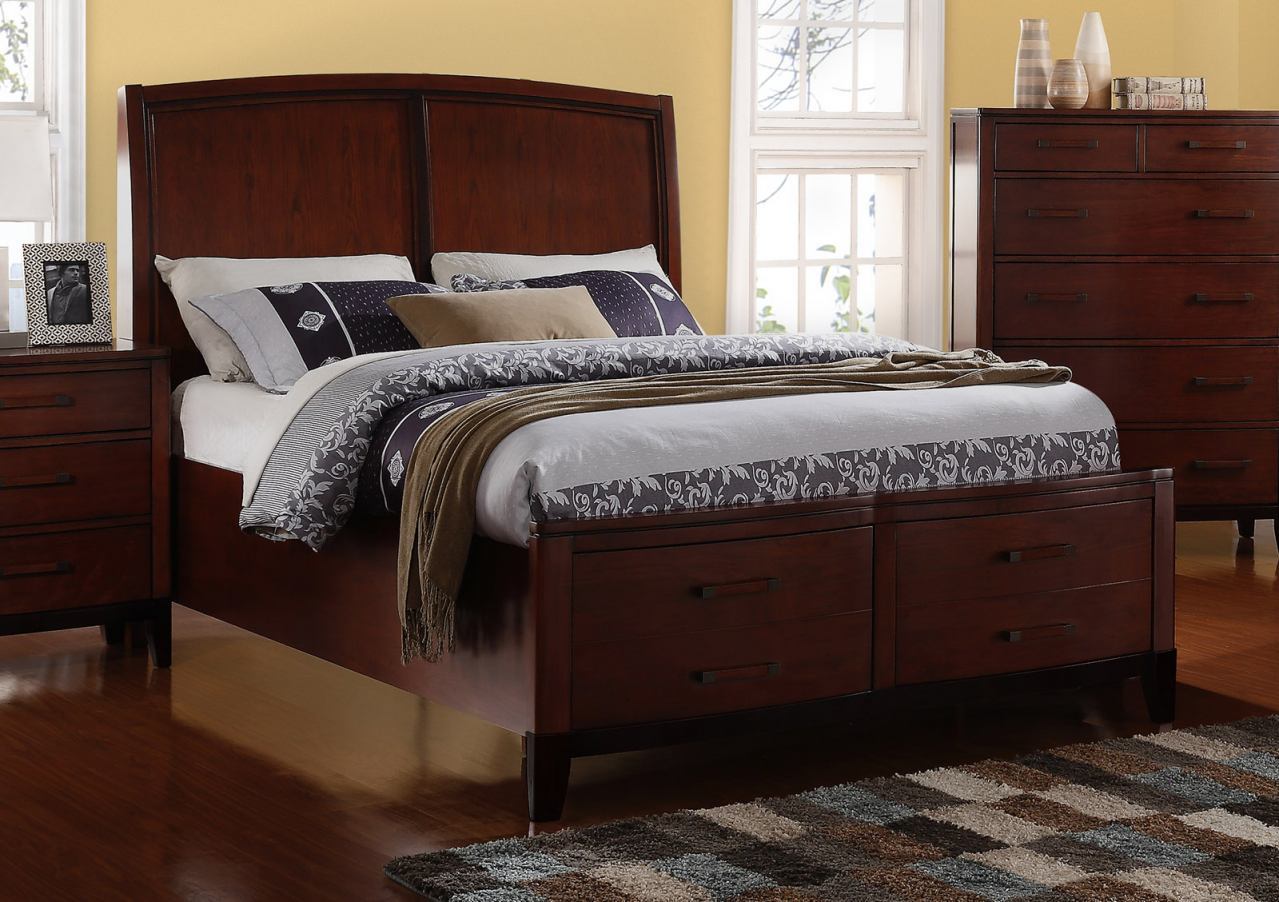 New Classic Sloane California King Panel Storage Bed in Caramel