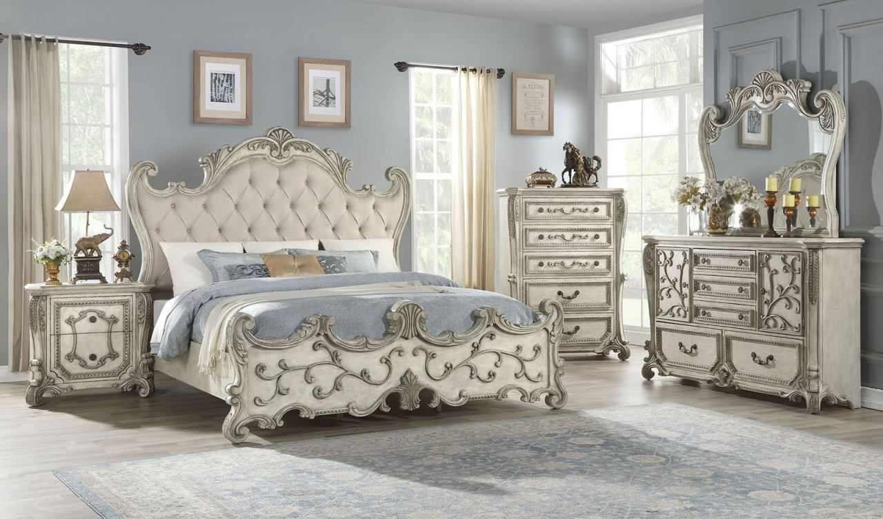 Acme Furniture Braylee 4pc Panel Bedroom Set in Antique White