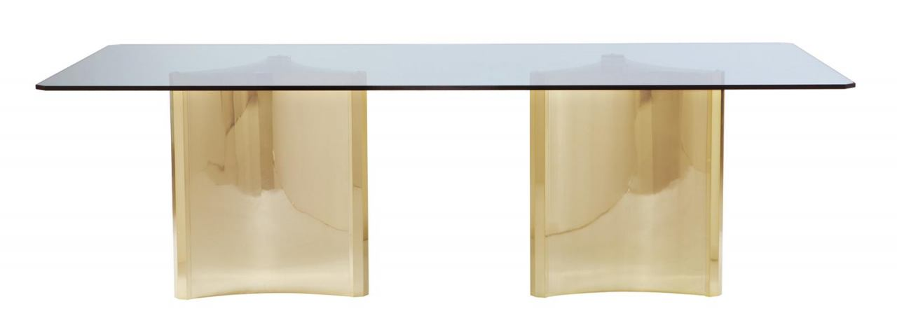 Bernhardt Abbot Metal Dining Table with Glass Top in Painted Brass