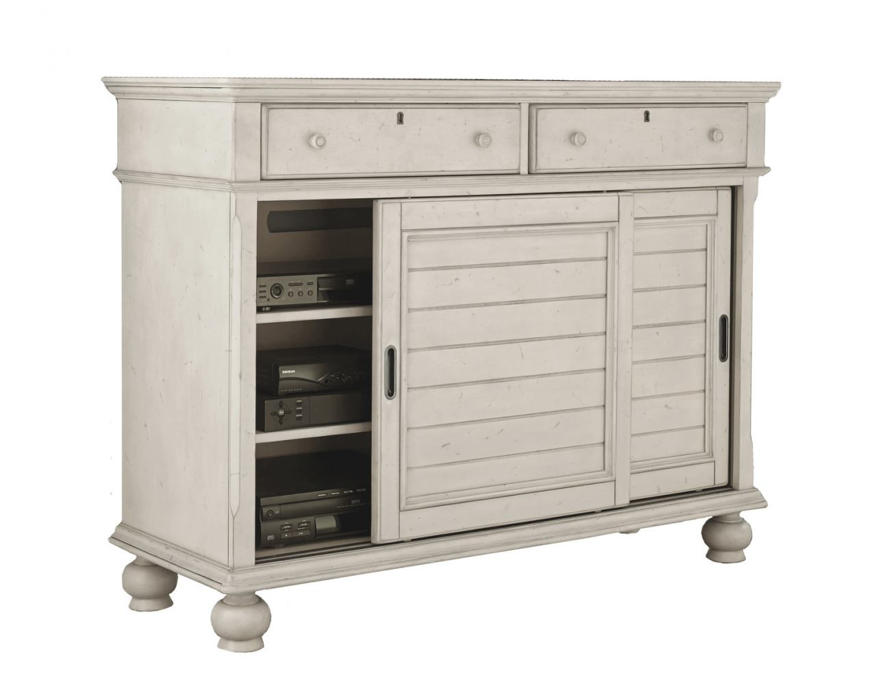 American Woodcrafters Newport Media Chest in Antique White 3710-232