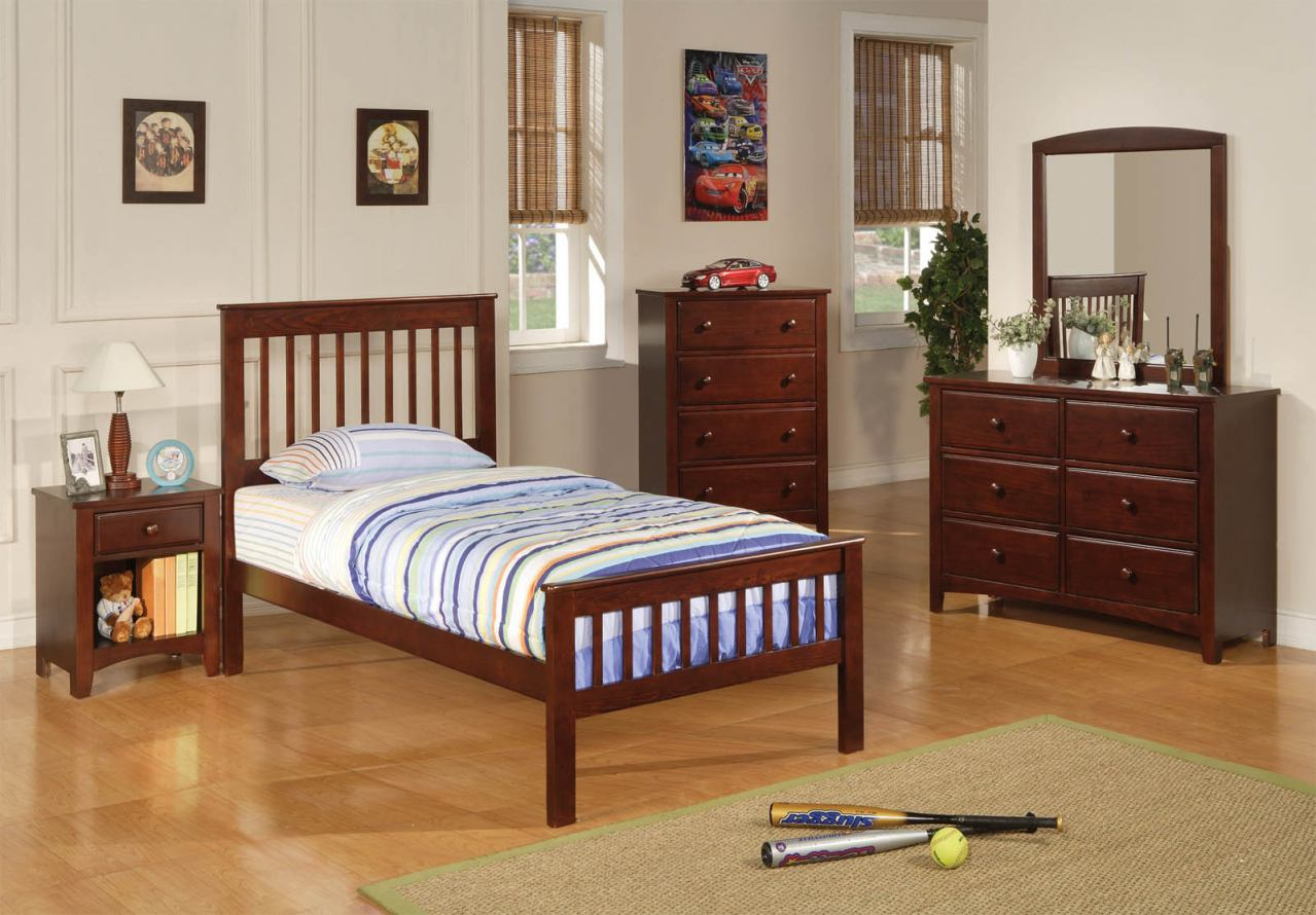Coaster Parker Youth 4pc Twin Slat Panel Bedroom Set in Cappuccino 400290T