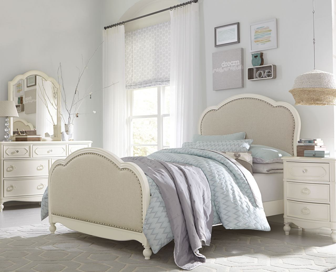Legacy Classic Kids Harmony 4 Piece Victoria Upholstered Panel Bedroom Set in Antique Linen White