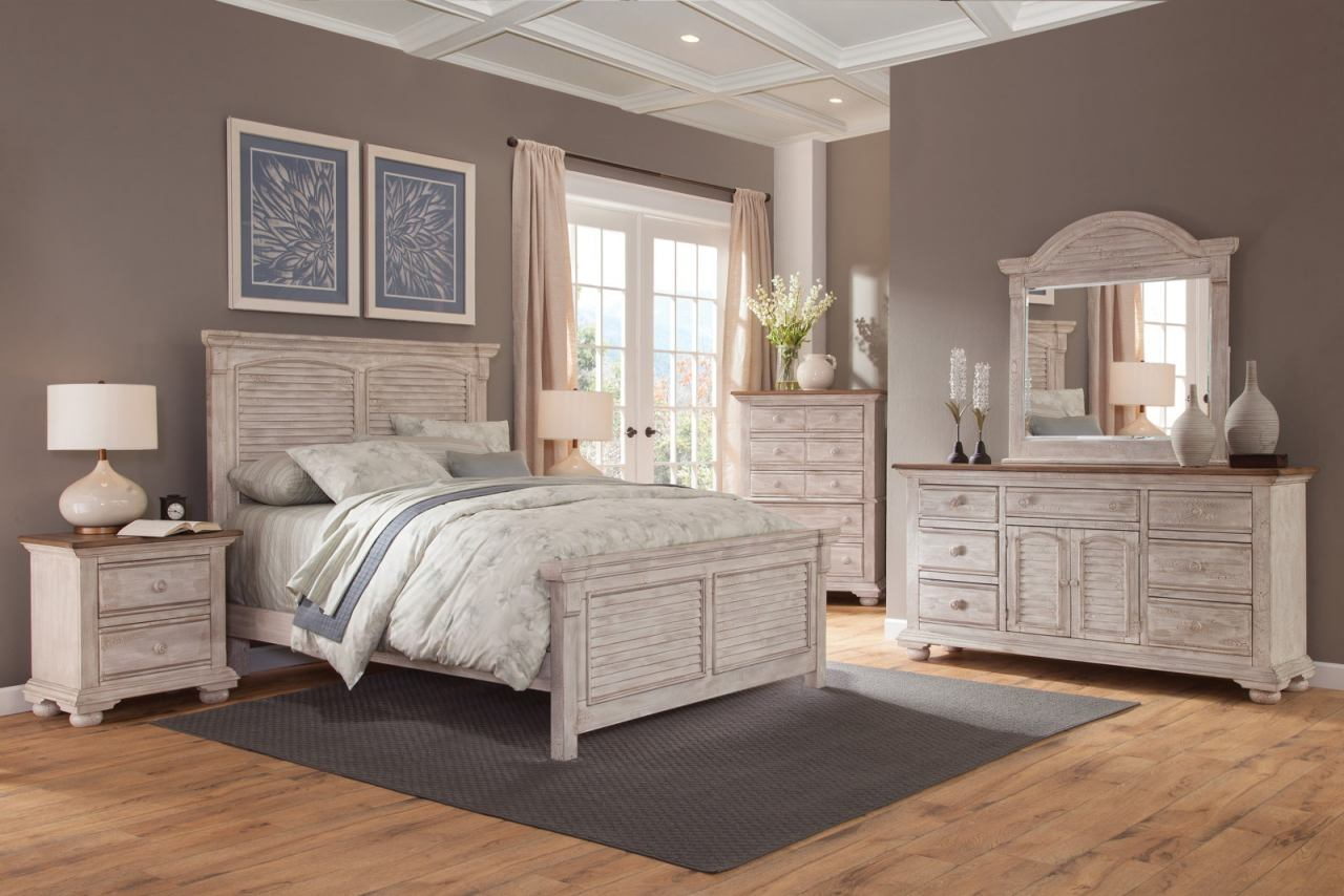 American Woodcrafters Cottage Traditions Square Panel Bedroom Set in  Crackled White