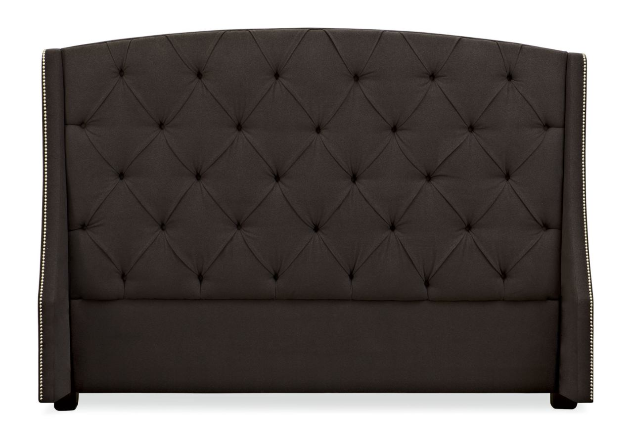 Bernhardt Interiors Jordan Button-Tufted Wing King Headboard Bed in Espresso