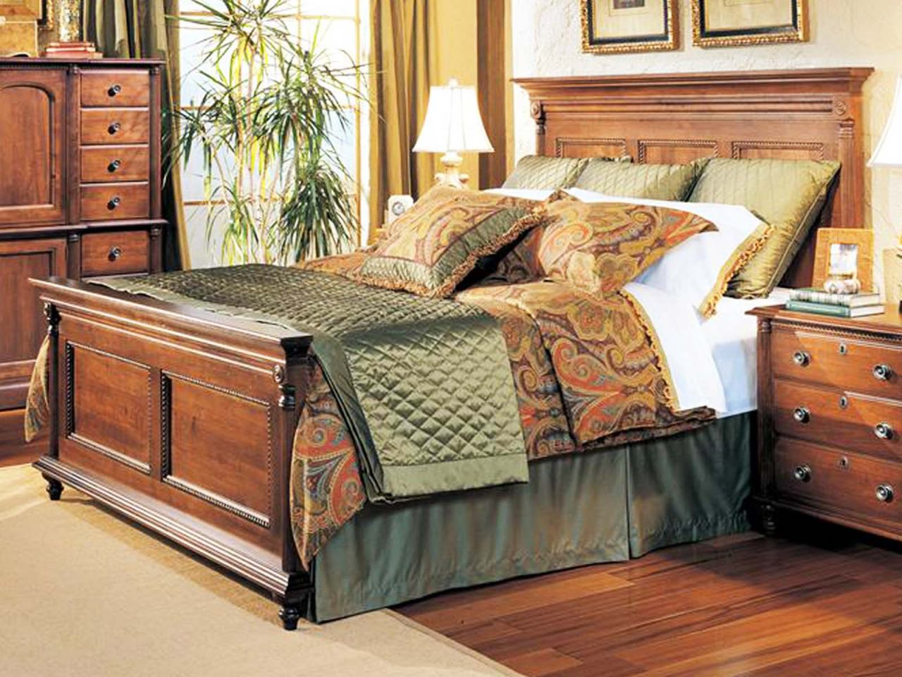 Durham Furniture Savile Row Queen Panel Bed - Victorian Mahogany finish