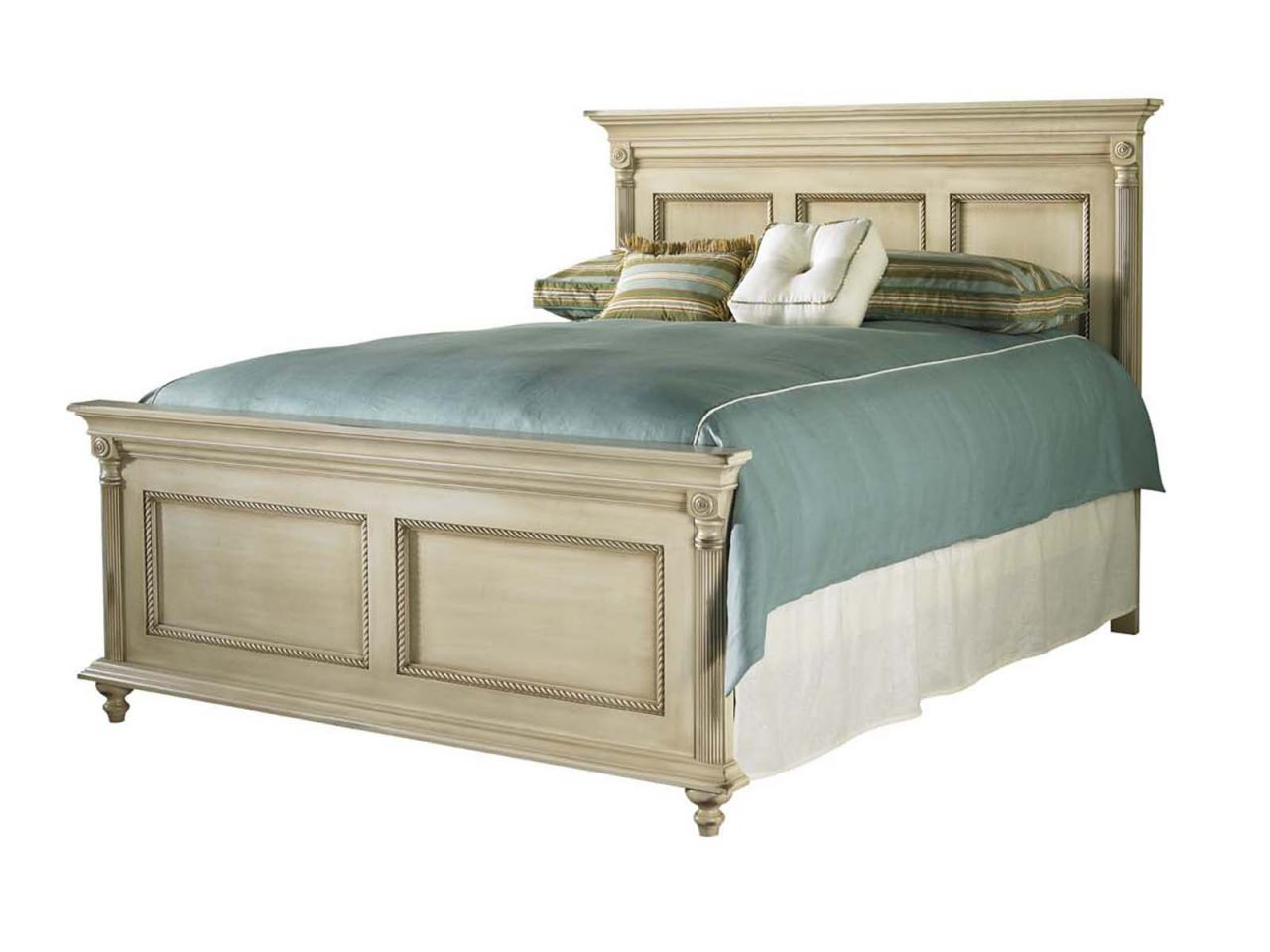 Image of: Durham Furniture Savile Row Cal King Panel Bed In Antique Cream 980 144ck Antc