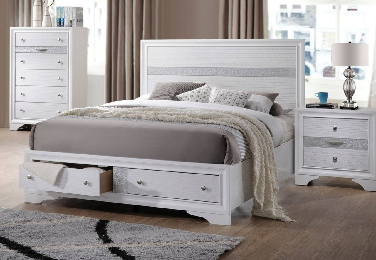 White queen bed with storage - Acme Naima Queen Panel Storage Bed In White 25770q
