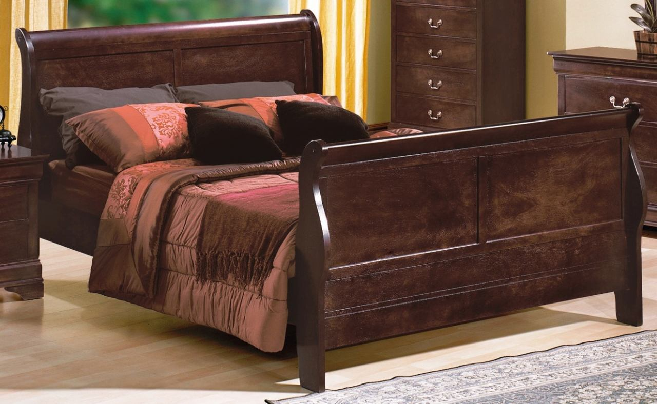Crown Mark Furniture Louis Philip Full Bed in Dark Cherry