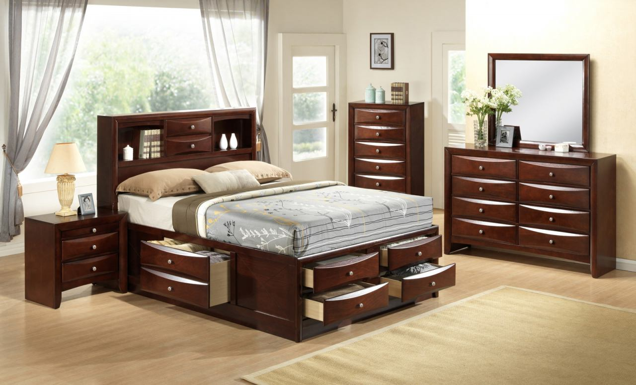 Crown Mark Furniture Emily Captain's Bedroom Set in Rich Cherry