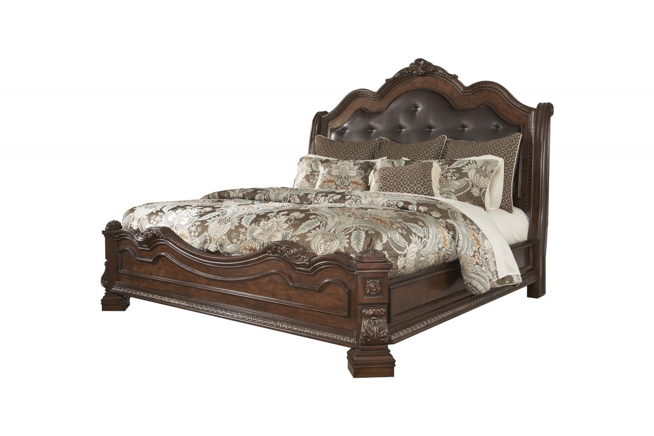 Ledelle California King Sleigh Headboard Bed with Upholstered Faux Leather in Brown