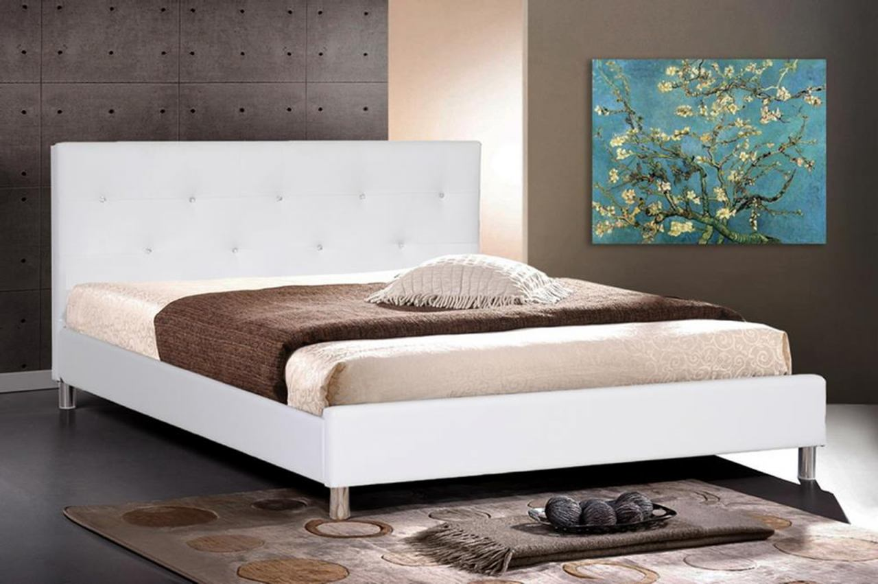 Baxton Studio Barbara King Modern Bed with Crystal Button Tufting in White