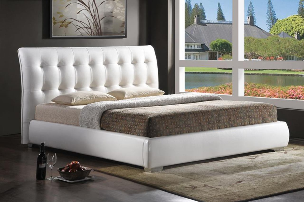 Baxton Studio Jeslyn Queen Modern Bed with Tufted Headboard in White