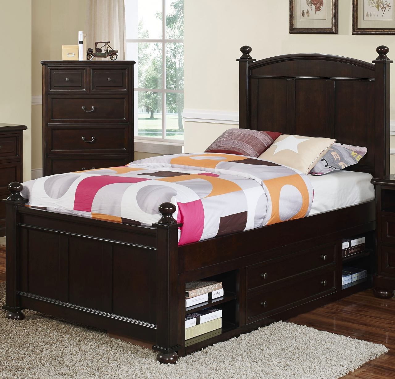 New Classic Canyon Ridge Twin Panel Bed with Storage in Chestnut CLOSEOUT