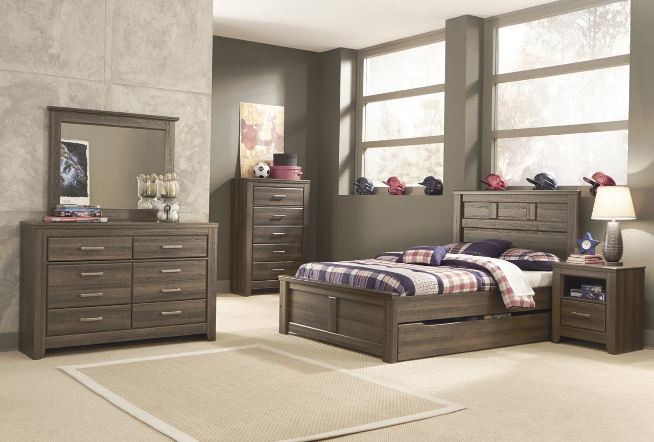 Ashley Juararo Panel Bedroom 5pc Set with Under Bed Storage in Dark Brown