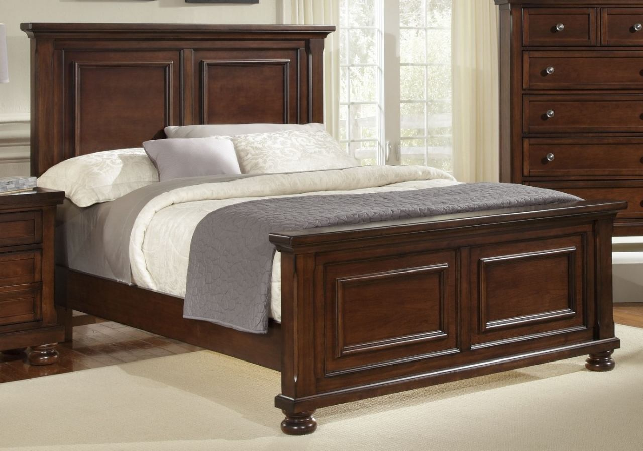 All-American Muse Eastern King Mansion Bed in Dark Cherry