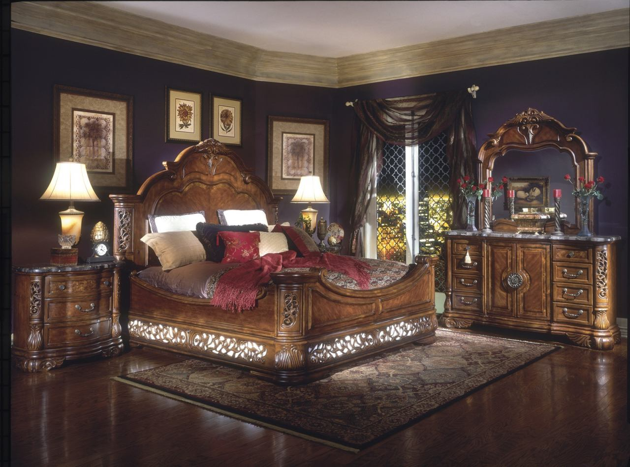 AICO Excelsior 4-Piece Mansion Bedroom Set in Fruitwood