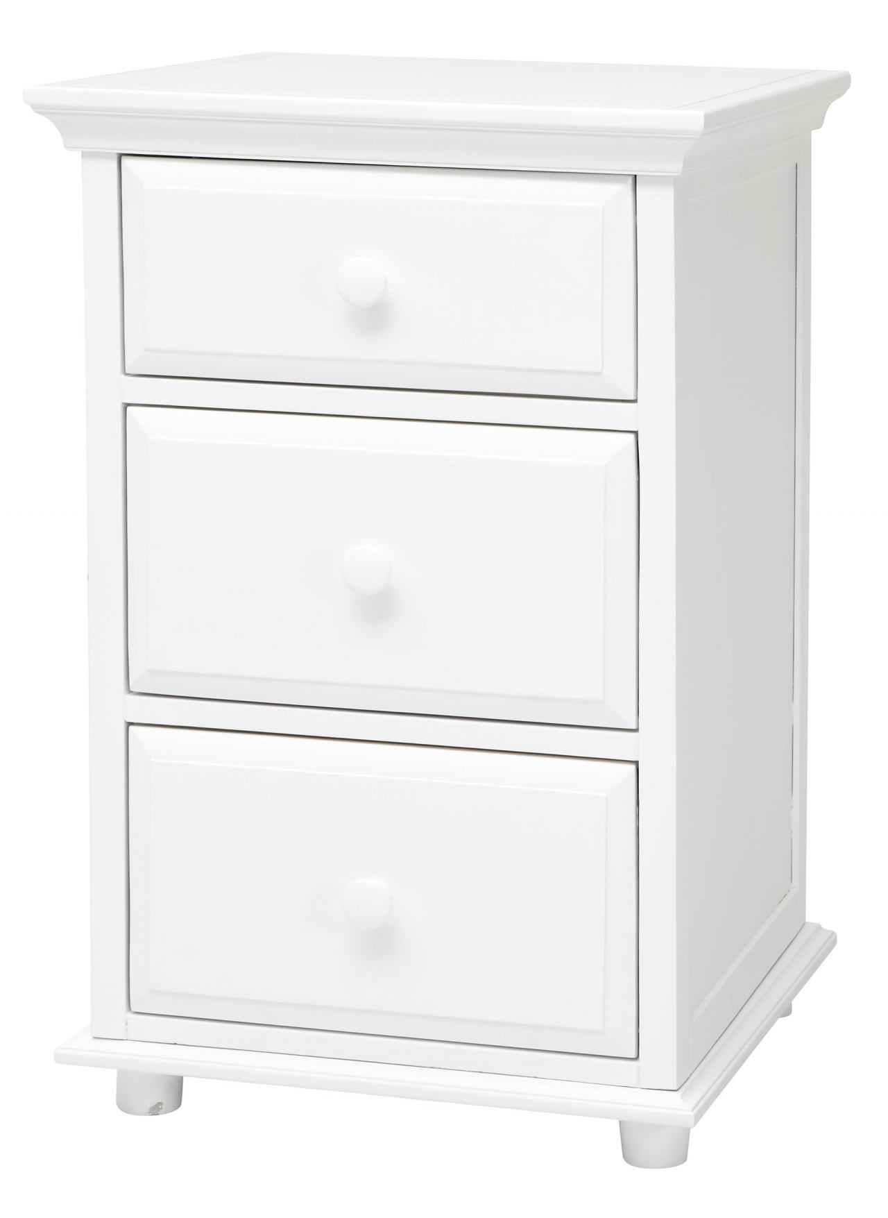 Maxtrix 3.5 Drawer Nightstand with Crown and Base in White BIG 3.5-002