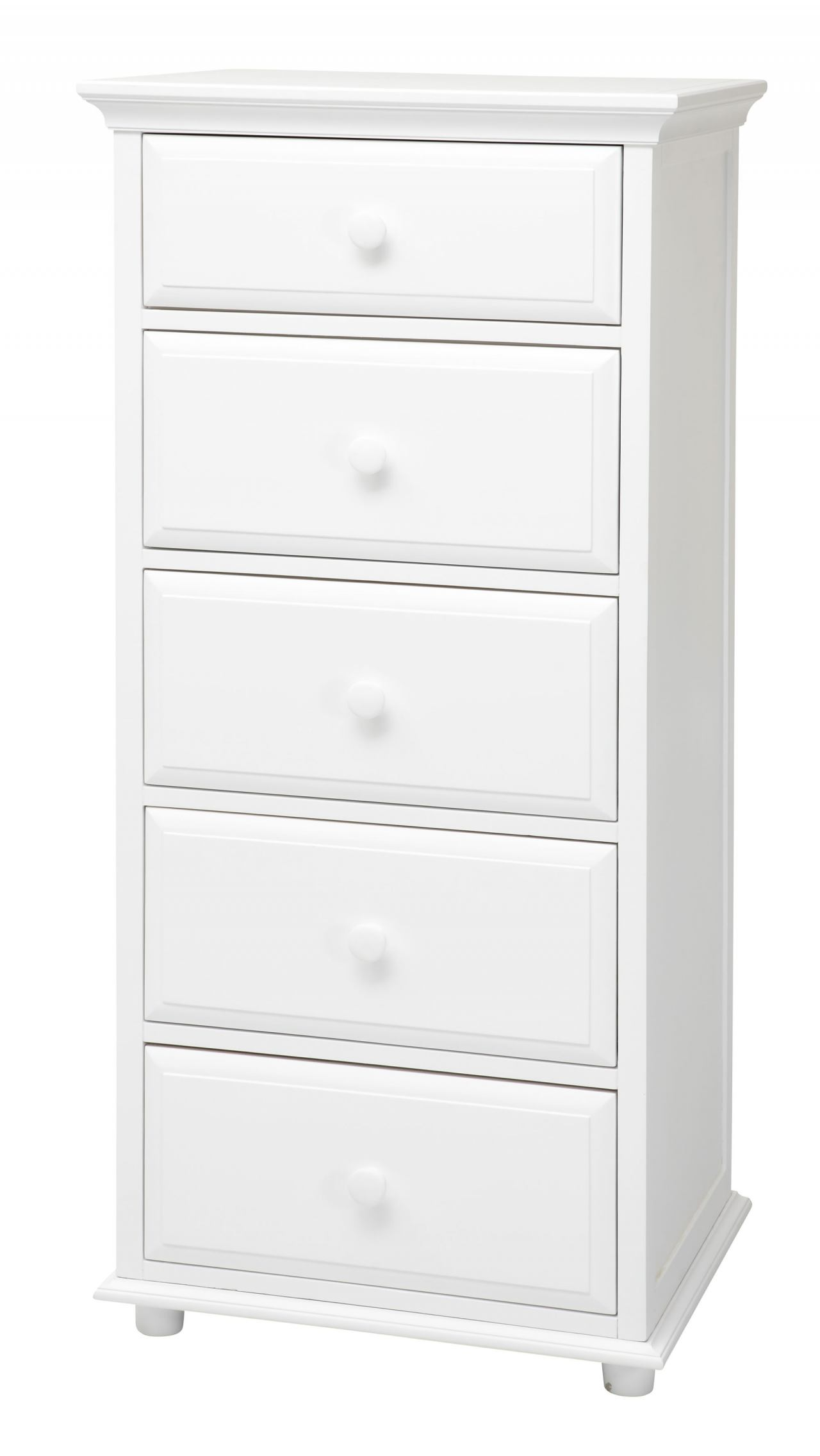 Maxtrix 5.5 Drawer Chest with Crown and Base in White BIG 5.5-002