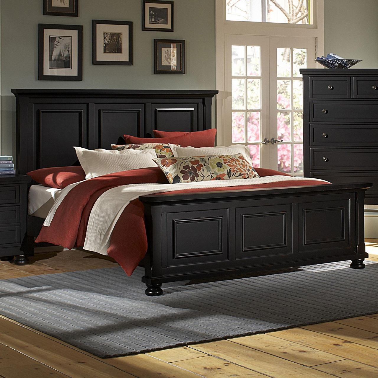 All-American Reflections California King Panel Mansion Bed in Ebony