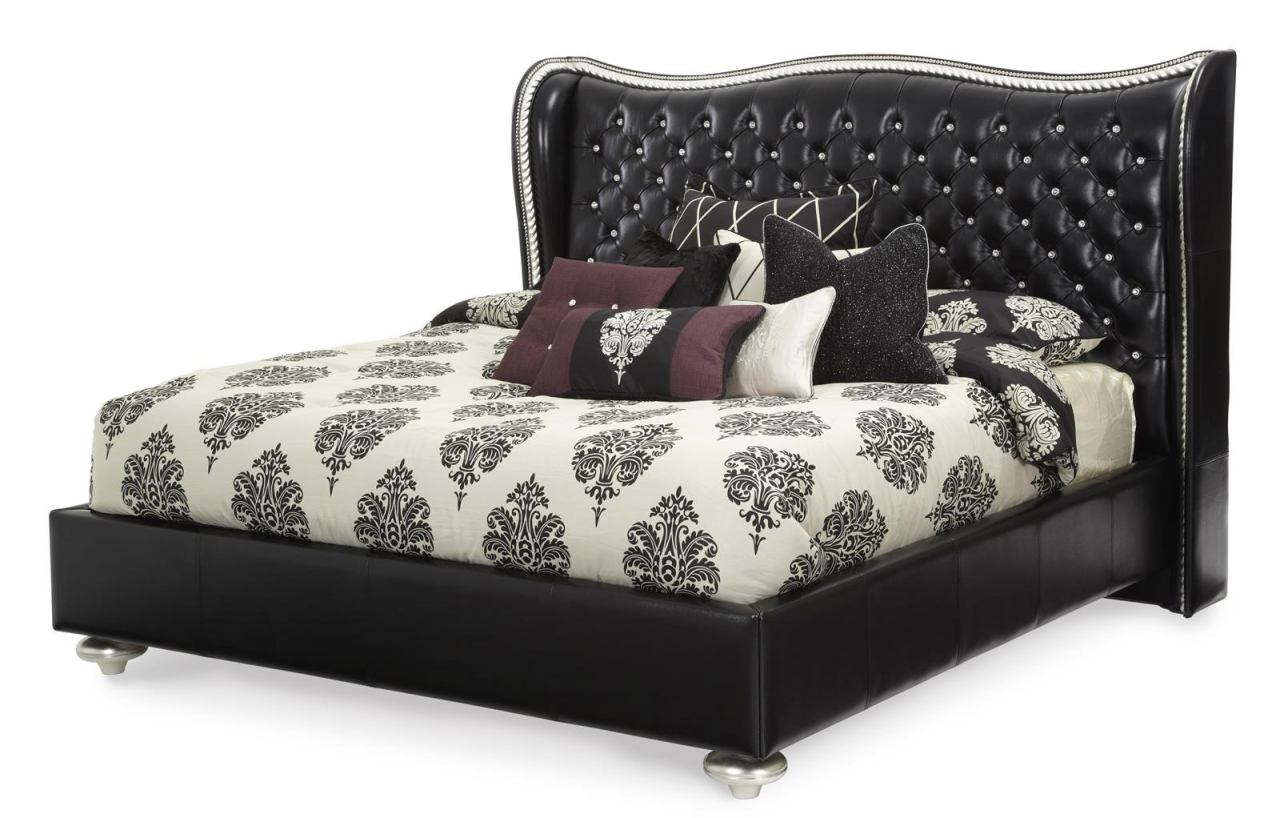AICO Hollywood Swank California King Upholstered Platform Bed in Starry Night