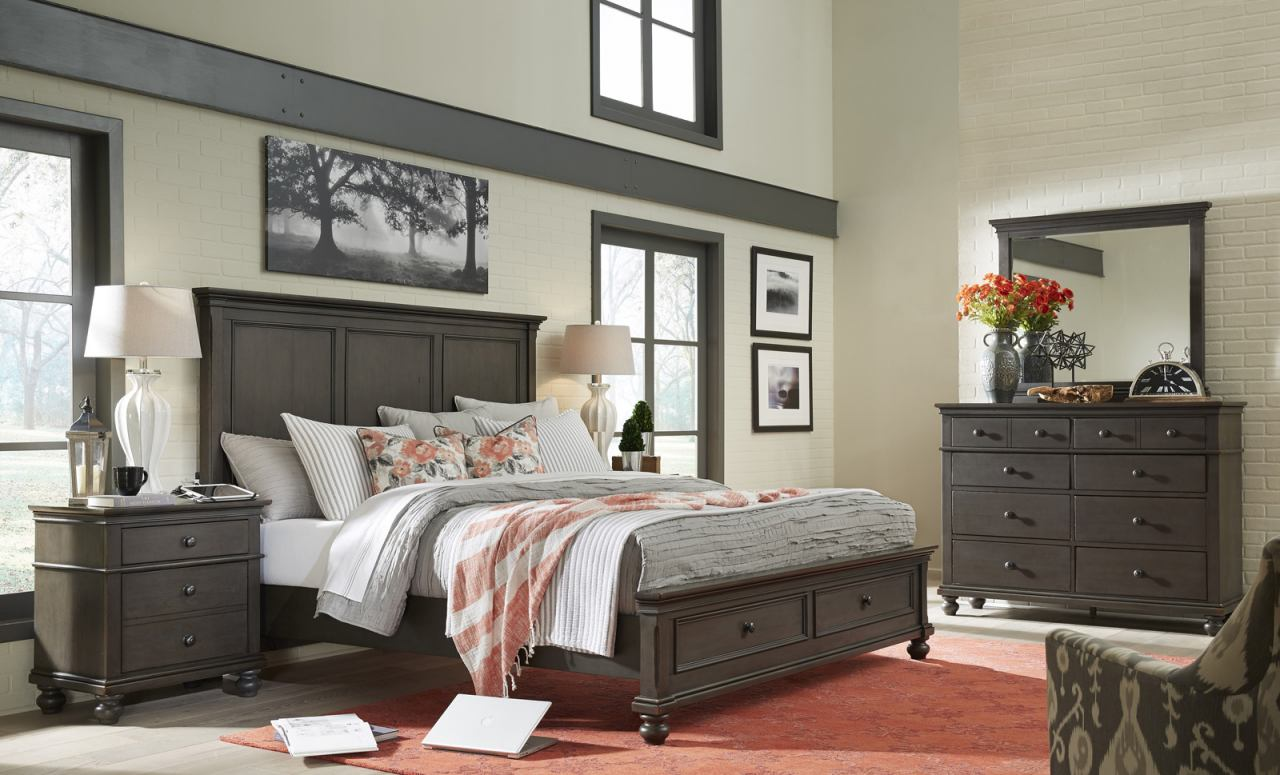 aspenhome oxford 4pc panel storage bedroom set in peppercorn