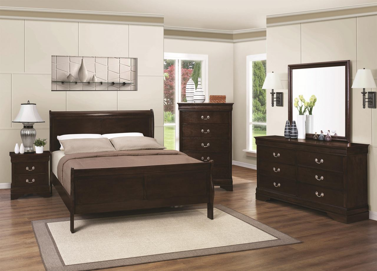 Coaster Louis Philippe 4-Piece Sleigh Bedroom Set in Cappuccino