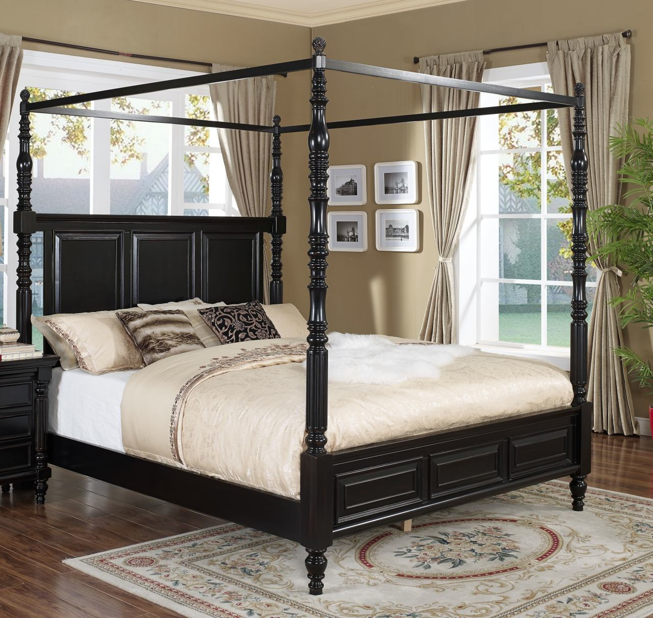 New Classic Martinique King Canopy Bed with Drapes in Rubbed Black 00-222-111EK