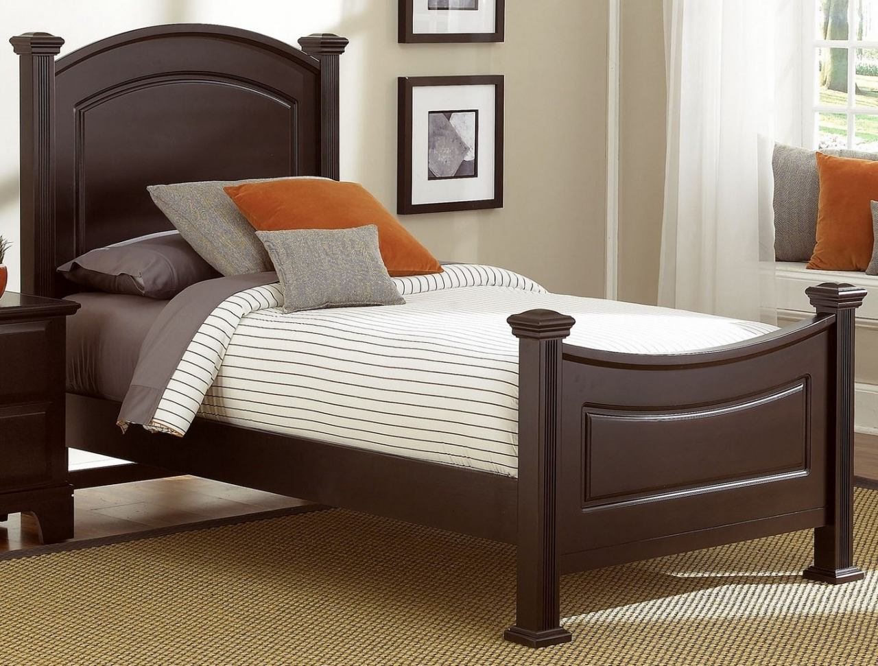 All-American Hamilton/Franklin Twin Panel Bed in Merlot