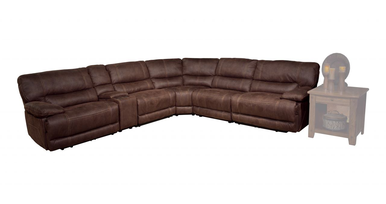 Parker House Pegasus 6pc Power Recliner Sectional in Dark Kahlua