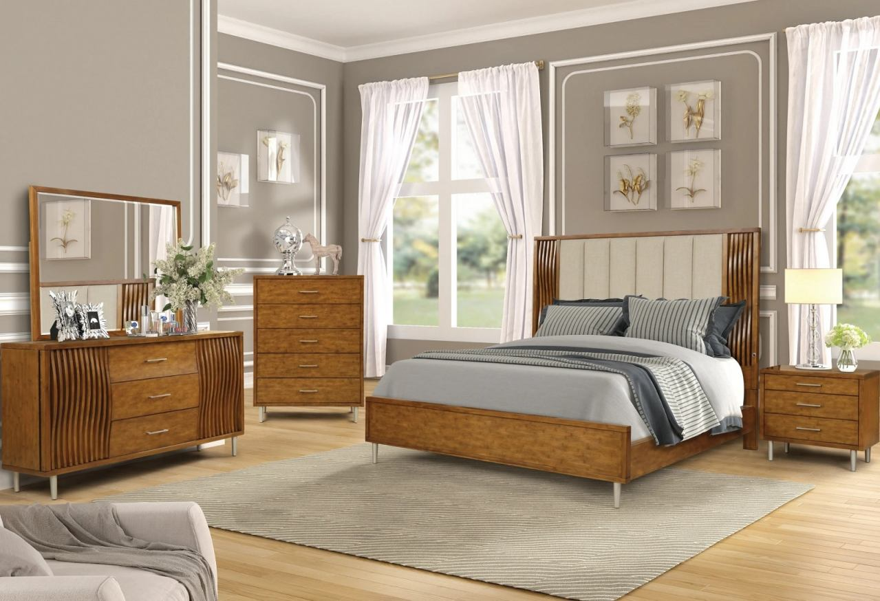 New Classic Furniture 4pc Bamboo Wave Bedroom Set in Natural