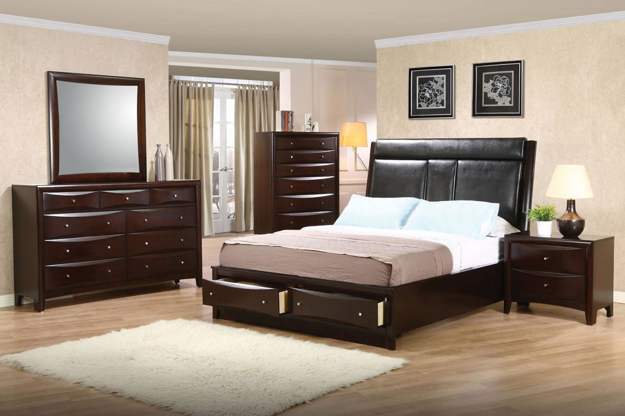 Coaster Phoenix Leather Storage Bedroom Set in Cappuccino 200419