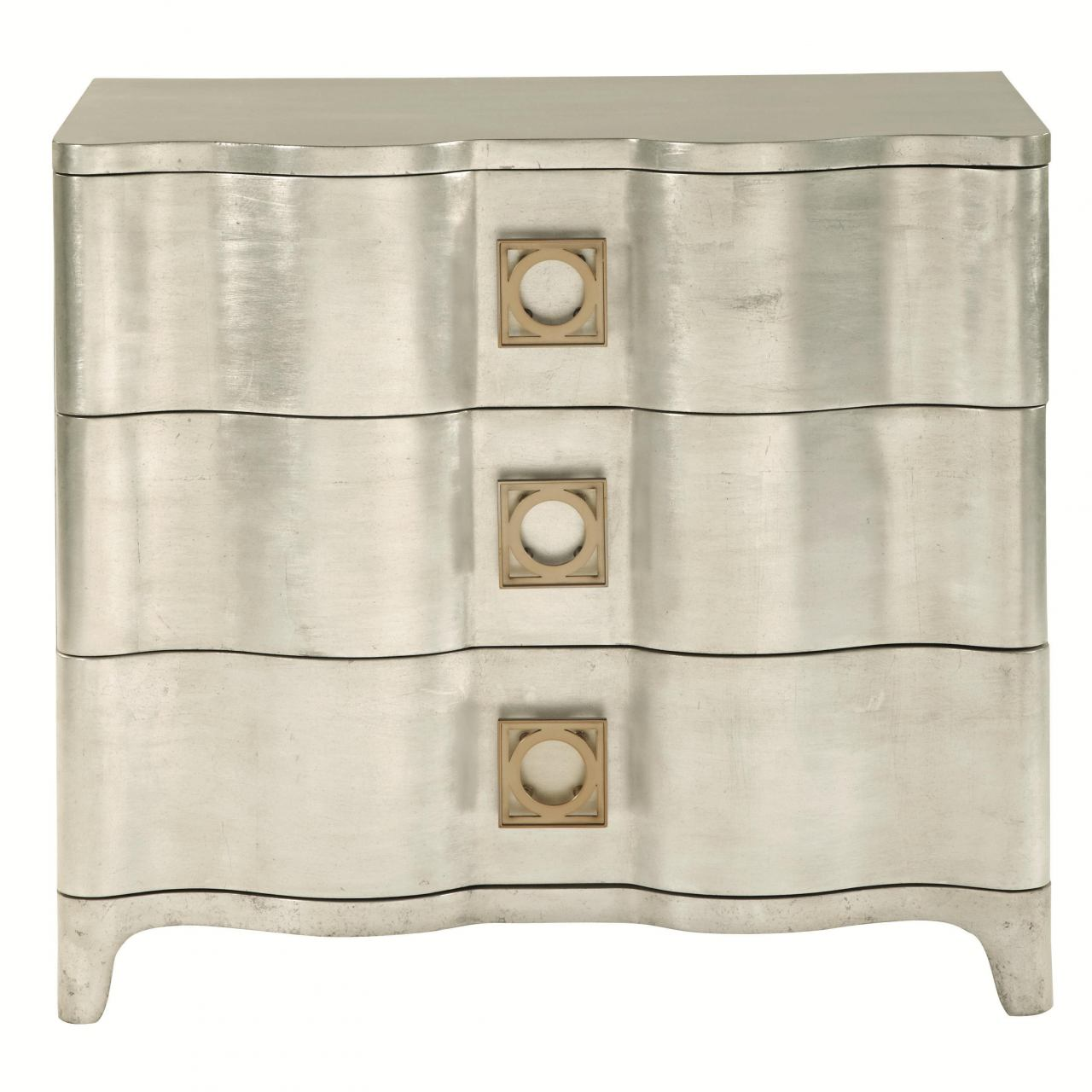 Bernhardt Salon Three Drawer Nightstand with Square Wooden Drawer Pulls in Antique Silver Leaf 341-228