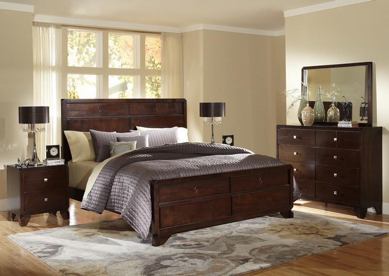 Baxton Studio Tichenor Queen 5 Piece Wooden Modern Bedroom Set in Dark Brown Cherry