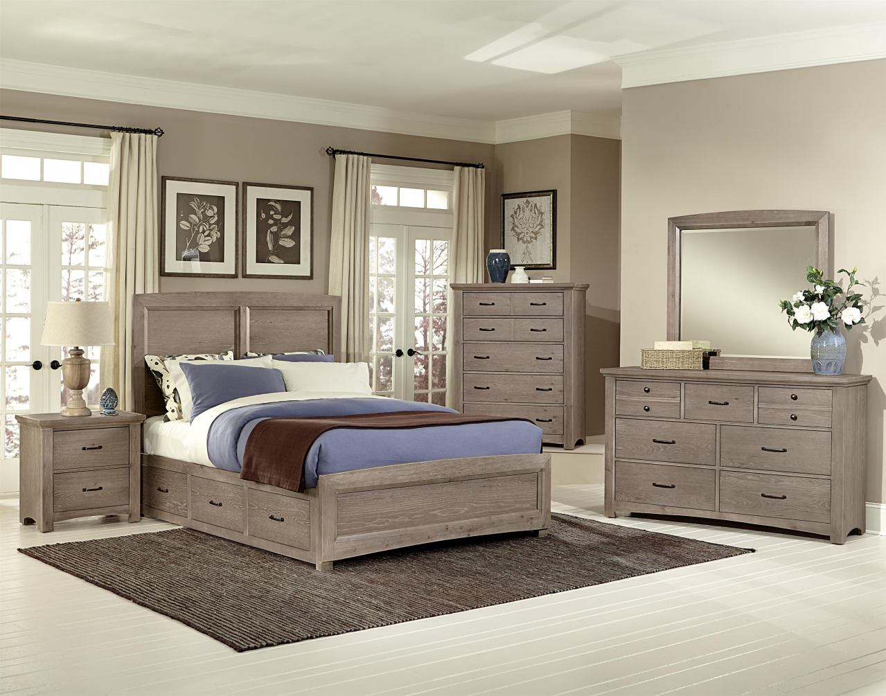 All-American Transitions 4 Piece Panel Bedroom Set with 2 Side Storage in Driftwood Oak