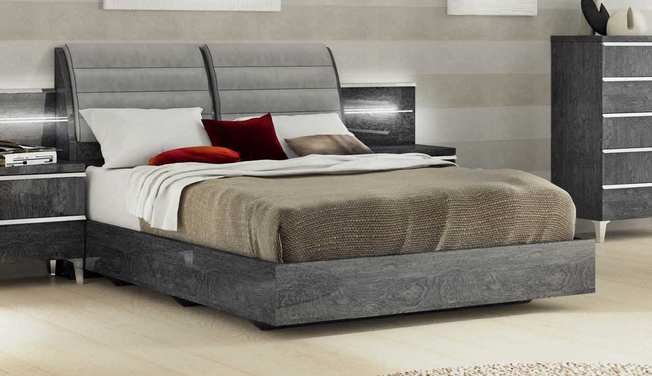 ESF Furniture Elite Grey Birch King Platform Bed in Grey