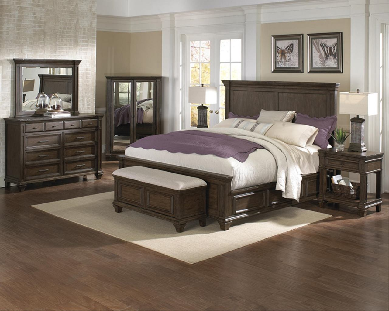 A-America Furniture Gallatin 4-Piece Panel with Storage Bedroom Set in Timeworn Mahogany