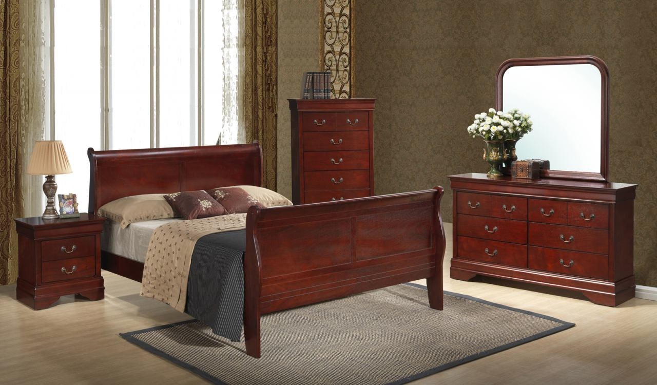 Global Furniture Philippe 5-Piece Sleigh Bedroom Set in Cherry