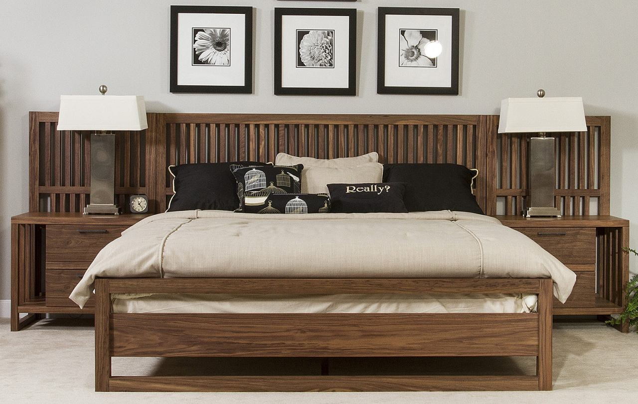 Ligna Tribeca Queen Slat Bed in Natural Walnut 9317NW